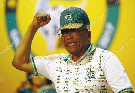 Outgoing ANC President, Jacob Zuma, dances on stage during the 54th ANC National Conference held at the NASREC Convention Centre, Johannesburg , South Africa, 18 December 2017. President Cyril Ramaphosa Nkosazana Dlamini-Zuma succeeds outgoing ANC President, Jacob Zuma and becomes the 4th ANC President since the end of Apartheid. The ruling ANC has been reeling recently under allegations of corruption and and loss of support from its core voters. The ANC (African National Congress) formally led by Nelson Mandela, led the country to freedom from white rule and the Apartheid system during the first free and fair elections in 1994. The convention ends Wednesday.