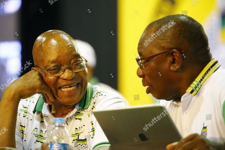 New ANC President Cyril Ramaphosa (R) with outgoing president, Jacob Zuma (L) during the 54th ANC National Conference held at the NASREC Convention Centre, Johannesburg , South Africa, 18 December 2017. President Cyril Ramaphosa Nkosazana Dlamini-Zuma succeeds outgoing ANC President, Jacob Zuma and becomes the 4th ANC President since the end of Apartheid. The ruling ANC has been reeling recently under allegations of corruption and and loss of support from its core voters. The ANC (African National Congress) formally led by Nelson Mandela, led the country to freedom from white rule and the Apartheid system during the first free and fair elections in 1994. The convention ends Wednesday.