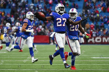 Tre'Davious White, Shareece Wright. Buffalo Bills cornerback Tre'Davious White (27) reacts to his interception with teammate cornerback Shareece Wright (20) against the Miami Dolphins during the second half of an NFL football game, in Orchard Park, N.Y. The Bills won 24-16