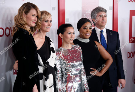 "Laura Dern, Alexander Payne, Kristen Wiig, Hong Chau, Niecy Nash. From left, ""Downsizing"" cast members Laura Dern, Kristen Wiig, Hong Chau and Niecy Nash pose with the film's director/co-writer Alexander Payne at a special screening of the film at the Regency Village Theatre, in Los Angeles"