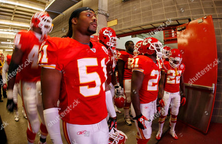 Stock Image of Kansas City Chiefs linebacker Corey Mays (51) waits to take the field before an NFL football game with the San Francisco 49ers in Arrowhead Stadium in Kansas City, Mo
