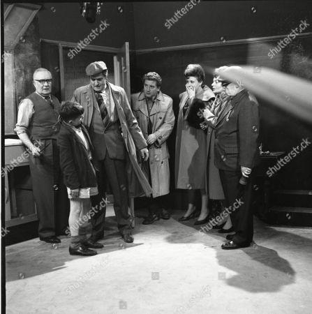 Stock Picture of Arthur Leslie (as Jack Walker), Jimmy Ogden (as Billy Makin), Ivan Beavis (as Harry Hewitt) Peter Adamson (as Len Fairclough), Pat Phoenix (as Elsie Tanner), Doreen Keogh (as Concepta Hewitt) and Jack Howarth (as Albert Tatlock)