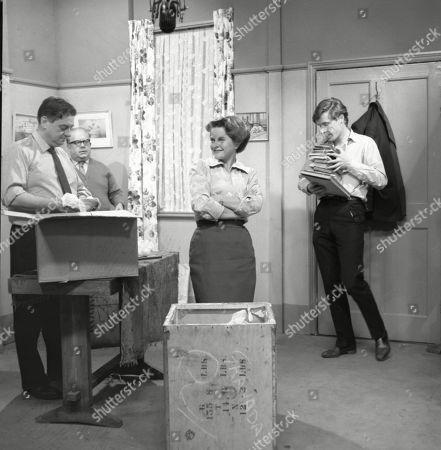 Frank Pemberton (as Frank Barlow), Jack Howarth (as Albert Tatlock), Daphne Oxenford (as Esther Hayes) and William Roache (as Ken Barlow)