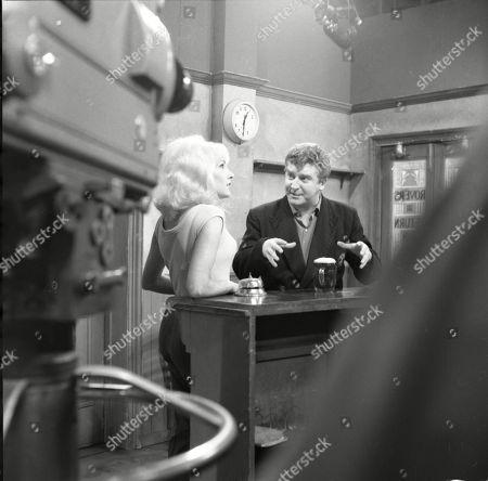 Jacqueline Jones (as Philippa Scopes) and Peter Adamson (as Len Fairclough)