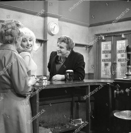 Doris Speed (as Annie Walker), Jacqueline Jones (as Philippa Scopes) and Peter Adamson (as Len Fairclough)