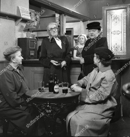 Margot Bryant (as Minnie Caldwell), Marion Dawson (as Matilda Grimshaw), Doris Speed (as Annie Walker), Violet Carson (as Ena Sharples), Lynne Carol (as Martha Longhurst)