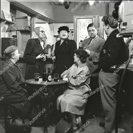 Margot Bryant (as Minnie Caldwell), Marion Dawson (as Matilda Grimshaw), Doris Speed (as Annie Walker), Violet Carson (as Ena Sharples), Lynne Carol (as Martha Longhurst), Frank Pemberton (as Frank Barlow) and Peter Adamson (as Len Fairclough)
