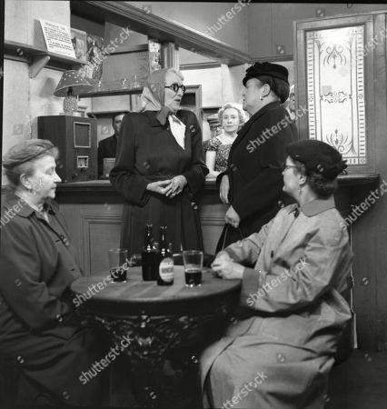 Margot Bryant (as Minnie Caldwell), Marion Dawson (as Matilda Grimshaw), Doris Speed (as Annie Walker), Violet Carson (as Ena Sharples) and Lynne Carol (as Martha Longhurst)