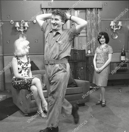 Jacqueline Jones (as Philippa Scopes) Peter Adamson (as Len Fairclough) and Jennifer Moss (as Lucille Hewitt)