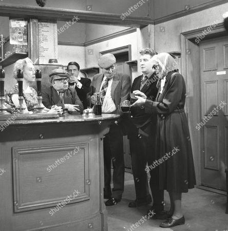 Doris Speed (as Annie Walker), Jack Howarth (as Albert Tatlock), Ivan Beavis (as Harry Hewitt), Peter Adamson (as Len Fairclough) and Marion Dawson (as Matilda Grimshaw)