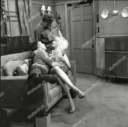 Kenneth Farrington (as Billy Walker), Peter Adamson (as Len Fairclough) and Jacqueline Jones (as Philippa Scopes)