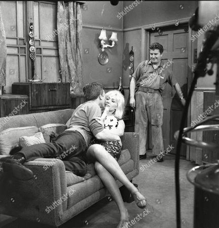 Kenneth Farrington (as Billy Walker), Jacqueline Jones (as Philippa Scopes) and Peter Adamson (as Len Fairclough)