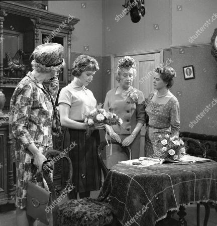 Betty Alberge (as Florrie Lindley), Anne Reid (as Valerie Tatlock), Doris Speed (as Annie Walker) and Daphne Oxenford (as Esther Hayes)