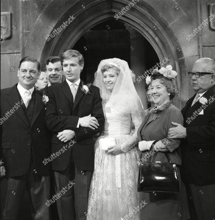Frank Pemberton (as Frank Barlow), William Roache (as Ken Barlow), Anne Reid (as Valerie Barlow), Gabrielle Daye (as Beattie Pearson) and Jack Howarth (as Albert Tatlock)