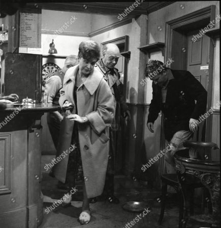 Arthur Leslie (as Jack Walker), Pat Phoenix (as Elsie Tanner), Frank Atkinson (as Sam Leach) and Peter Adamson (as Len Fairclough)