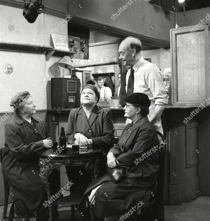 Margot Bryant (as Minnie Caldwell), Violet Carson (as Ena Sharples), Lynne Carol (as Martha Longhurst) and Frank Atkinson (as Sam Leach)