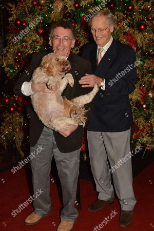 Nicholas Parsons and Robert Powell with rescue dog, Darcy, 5 yrs