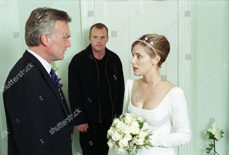 Ep 2417 Wednesday 16th September 1998 Dressed in white, Lady Tara is taken to the Register Office by Biff. It appears the two have decided to share their lives together which means a big shock for expectant groom Lord Michael. The three go into a side room where a tense and emotional discussion takes place, but who will she end up with - With Lady Tara Oakwell, as played by Anna Brecon ; Biff Fowler, as played by Stuart Wade ; and Lord Michael Thornfield, as played by Malcolm Stoddard.