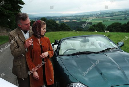 Stock Picture of Ep 2412 Tuesday 8th September 1998  Lord Michael stuns Lady Tara by giving her a brand new Jaguar as a present for when she gets her license back. Then he takes her breath away with a huge, sparkling diamond engagement ring - With Lady Tara Oakwell, as played by Anna Brecon and Lord Michael Thornfield, as played by Malcolm Stoddard.
