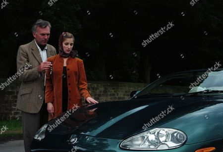 Stock Photo of Ep 2412 Tuesday 8th September 1998  Lord Michael stuns Lady Tara by giving her a brand new Jaguar as a present for when she gets her license back. Then he takes her breath away with a huge, sparkling diamond engagement ring - With Lady Tara Oakwell, as played by Anna Brecon and Lord Michael Thornfield, as played by Malcolm Stoddard.