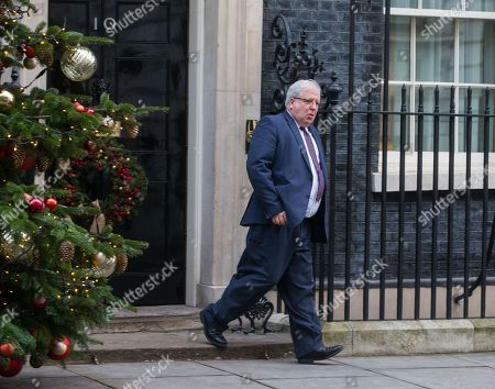 Chancellor of the Duchy of Lancaster Patrick McLoughlin, leaves the Cabinet meeting