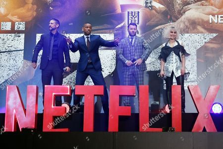 (L-R) US director David Ayer, US actor/cast member Will Smith, Australian actor/cast member Joel Edgerton and Swedish actress/cast member Noomi Rapace attend the Japan premiere for the film 'Bright' in Tokyo, Japan, 19 December 2017. The American urban fantasy action crime film will be released globally on Netflix from 22 December.