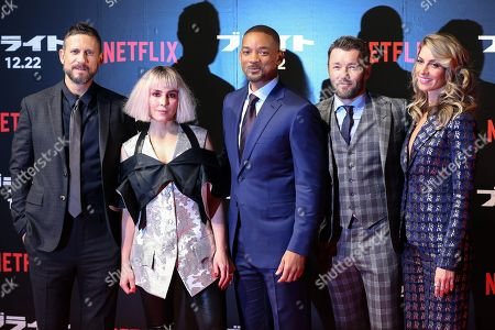 (L-R) US director David Ayer, Swedish actress/cast member Noomi Rapace, US actor/cast member Will Smith, Australian actor/cast member Joel Edgerton and US actress/cast member Dawn Olivieri attend the Japan premiere of 'Bright' in Tokyo, Japan, 19 December 2017. The American urban fantasy action crime film will be released globally on Netflix from 22 December.