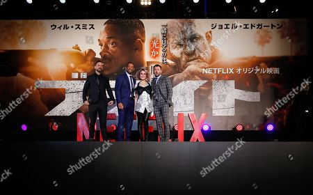 (L-R) US director David Ayer, US actor/cast member Will Smith, Swedish actress/cast member Noomi Rapace and Australian actor/cast member Joel Edgerton attend the Japan premiere for the film 'Bright' in Tokyo, Japan, 19 December 2017. The American urban fantasy action crime film will be released globally on Netflix from 22 December.