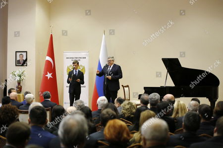 Stock Picture of Russian ambassador to Turkey, Aleksey Yerhov (R) speaks during a ceremony for mark the first death anniversary of the Russian ambassador to Turkey, Andrey Karlov in Ankara, Turkey, 19 December 2017.  Russia's ambassador to Turkey, Karlov was assasinated on 19 December during a culutural event at an art gallery in the Turkish capital by Turkish policeman Mevlut Mert Altintas, 22, who had been serving in Ankara's riot police for two years.