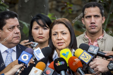 The second vice president of the National Assembly Dennis Fernandez speaks to the press outside the residency of Chile's ambassador, in Caracas, Venezuela, 19 Decemeber 2017. A commission of the National Assembly of Venezuela (AN, Parliament) noted the good health of Freddy Guevara and Roberto Enriquez, the two opposition politicians who have been staying for weeks in the residence of the Chilean ambassador in the Caribbean country.
