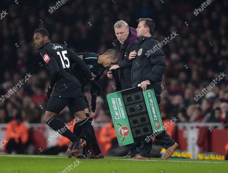 Diafra Sakho of West Ham United replaces Javier Hernandez
