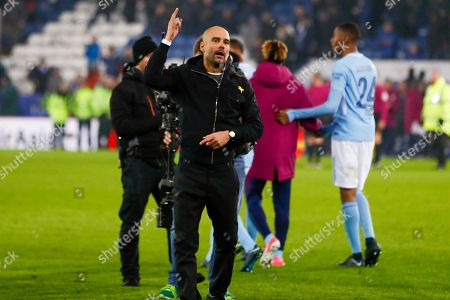 Manchester City Manager Josep Pep Guardiola celebrates the penalty shoot out win during the EFL Quarter Final Cup match between Leicester City and Manchester City at the King Power Stadium, Leicester