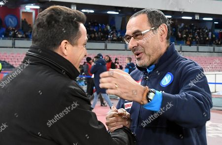 Napoli's head coach Maurizio Sarri  Udinese's head coach Massimo Oddo (L) during the Coppa Italia soccer match between SSC Napoli and Udinese Calcio at the San Paolo stadium in Naples, Italy, 19 December 2017.