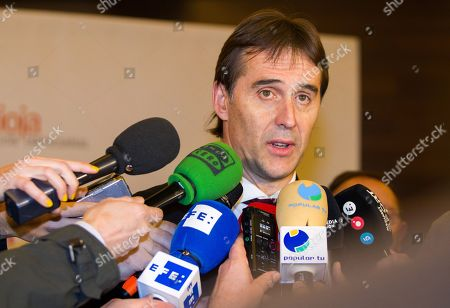 Spanish National Soccer Team's head coach Julen Lopetegui talks to the media shortly before attending the Internationalization Prizes awarding ceremony in Logrono, Spain, 19 December 2017. Lopetegui said that he has no doubts about Spain attending the Russia World Cup championship. This statement is said a day after former president of the Spanish Football Federation, Angel Maria Villar (unseen) stated that Spain is in danger of missing the 2018 Russia World Cup due to 'government interference'.