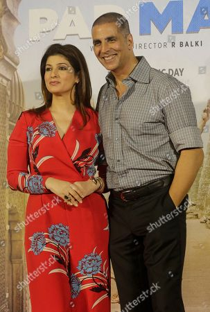 Akshay Kumar, Twinkle Khanna. Bollywood actor Akshay Kumar, right, with his wife Twinkle Khanna pose for a picture during the song launch of their film Pad Man in Mumbai, India, . The film is inspired from the life of a Tamil Nadu based social activist, Arunachalam Muruganantham who revolutionized the concept of menstrual hygiene in rural India by creating a low-cost sanitary napkins machine. It will be will be released on Jan. 26, 2018