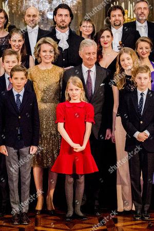 Princess Claire, Prince Gabriel, Prince Aymeric, Queen Mathilde, Princess Eleonore, King Philippe, Princess Elisabeth , Prince Emmanuel, Prince Nicolas, Princess Astrid, Prince Lorenz, Princess Luisa Maria