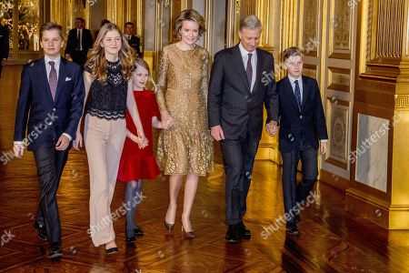 Editorial photo of Belgian Royal Family attending traditional christmas concert in the Royal of Palace of Brussels, Brussels, Belgium - 20 Dec 2017