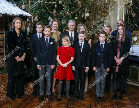 (L-R) Princess Claire of Belgium, Prince Gabriel, Prince Nicolas, Queen Mathilde of Belgium, Princess Eleonore, King Philippe of Belgium, Crown Princess Elisabeth, Prince Emmanuel, Prince Aymeric, Princess Astrid of Belgium, Princess Laetitia Maria and Prince Lorenz of Belgium pose for a family picture during the yearly Christmas Concert at the Royal Palace in Brussels, Belgium, 20 December 2017.