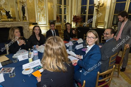 Stock Image of Marie Christine Saragosse,Delphine Ernotte, Mathieu Gallet, Anne Durupty Marc Schwartz and Francoise Nyssen
