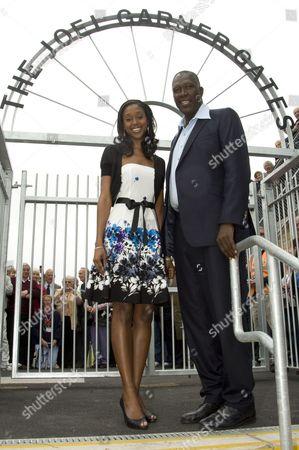 Joel Garner and his daughter, Miss Barbados, Jewel.