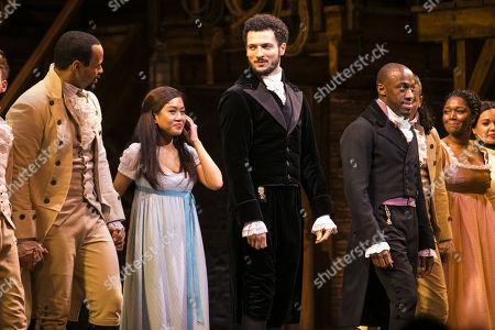 Obioma Ugoala (George Washington), Rachelle Ann Go (Eliza Hamilton), Jamael Westman (Alexander Hamilton) and Giles Terera (Aaron Burr) during the curtain call