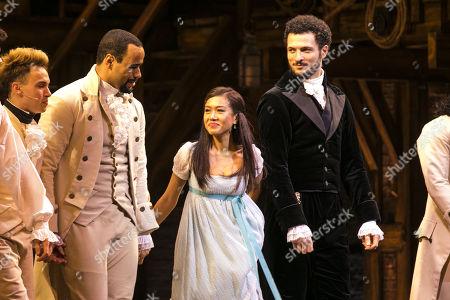 Obioma Ugoala (George Washington), Rachelle Ann Go (Eliza Hamilton) and Jamael Westman (Alexander Hamilton) during the curtain call