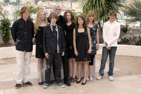 Stock Image of (Left to Right) Enno Trebs, Marie - Victoria Dragus, Theo Trebbs , Director Michael Haneke, Roxanne Duran, Janina Fautz and Leonie Benesch