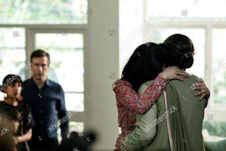 (Ep 1) - Jack Davenport as Guy Harcourt, Archie Panjabi as Mona Shirani and Farzana Dua Elahe as Rahana Shirani