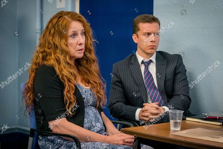 Stock Image of (Ep 3) - Phyllis Logan as Linda Hutchinson and Philip Cumbus as Andrew Thackery