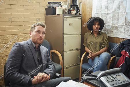(Ep 2) -  Ben Batt as Tony Everitt and Naomi Ackie as Louise Everitt.