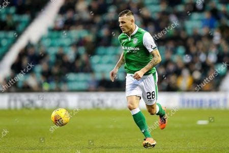 Anthony Stokes (#28) of Hibernian in action during the Ladbrokes Scottish Premiership match between Hibernian and Ross County at Easter Road, Edinburgh