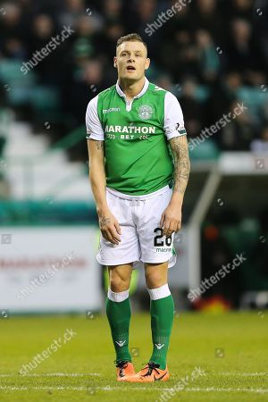 Anthony Stokes (#28) of Hibernian reacts to missing a chance during the Ladbrokes Scottish Premiership match between Hibernian and Ross County at Easter Road, Edinburgh