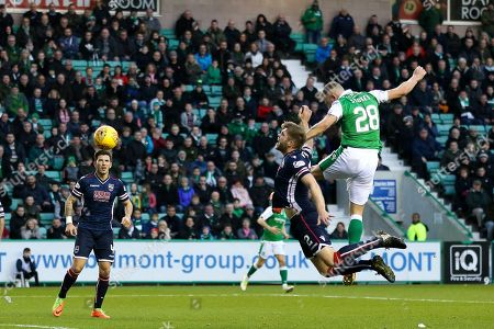 Anthony Stokes (#28) of Hibernian scores Hibernian's first goal (1-1) during the Ladbrokes Scottish Premiership match between Hibernian and Ross County at Easter Road, Edinburgh