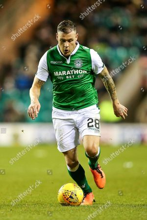 Anthony Stokes (#28) of Hibernian dribbles the ball during the Ladbrokes Scottish Premiership match between Hibernian and Ross County at Easter Road, Edinburgh
